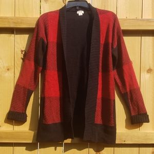 Black/red checker cardigan